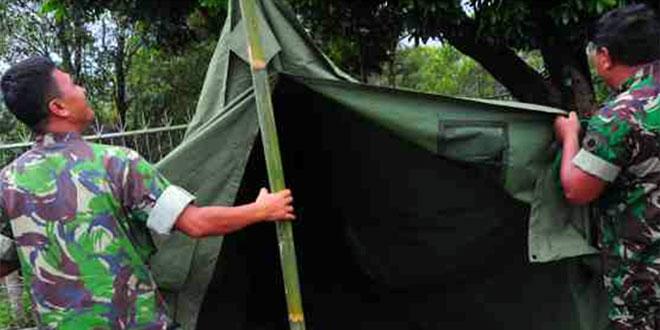 Kodim Tegal Dirikan Tenda Darurat di Lereng Gunung Slamet