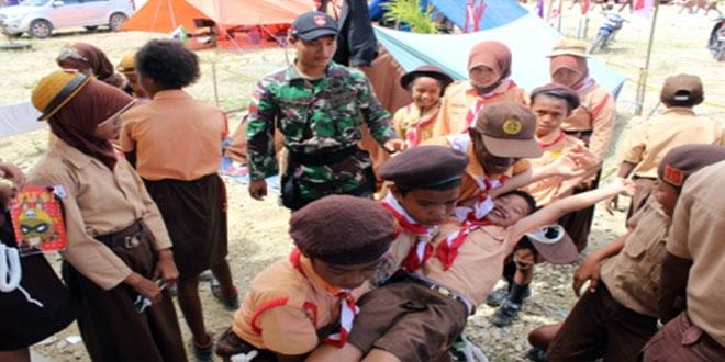 Kegiatan Belanegara Yonif 400/Raider Terpadu Dalam Kegiatan Pramuka Jambore Ranting Arso