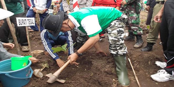Sukseskan Ketahanan Pangan Kodim 0712/Tegal Bersama Dinas Tanbunhut dan KPH Balapulang Tanam Jagung Bersama