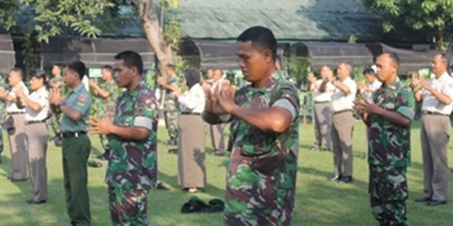 Senam Minzu Pertama Kali Dilaksanakan Anggota Kodim 0725/Sragen