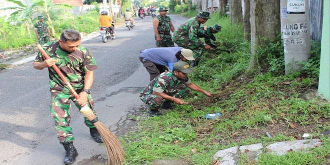 Koramil-10/Gajah Mungkur Kodim 0733 BS/Semarang Karya Bhakti di Wilayah Kel. Gajah Mungkur