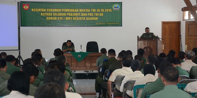 Pembinaan Mental Bintaldam IV/Diponegoro di Korem 074/Wrt