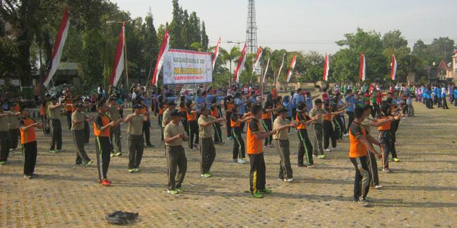 Kodim 0728 Wonogiri Senam Bersama di Kabupaten Wonogiri