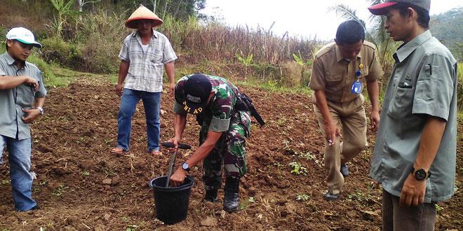 Danramil Bersama Babinsa Uji Tanah