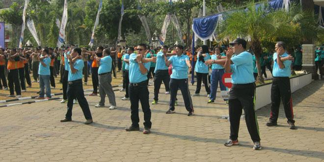Olahraga Bersama Muspida di Polres Wn onogiri