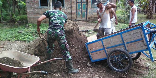 Koramil 07/Grabag Kodim 0708/Purworejo Melaksanakan Karya Bakti Pengurukan Jalan