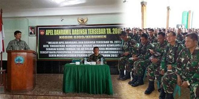 Kodim 0709/Kebumen Selenggarakan Apel Danramil Babinsa Tersebar TA. 2015
