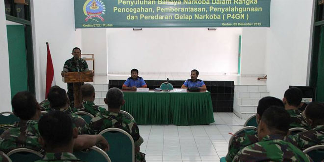 Prajurit TNI dan PNS Kodim 0722/Kudus Terima Penyuluhan P4GN Tentang Narkoba