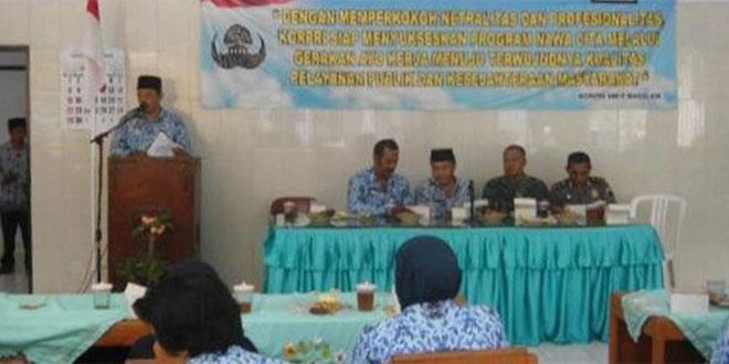 Koramil 16/Bagelen Melaksanakan Komsos Bersama Muspika dan Anggota Korpri