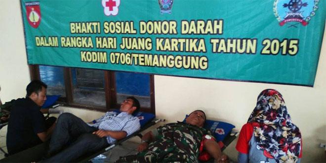 Anggota Kodim 0706/Temanggung Melaksanakan Donor Darah di Balai Desa Nguwet