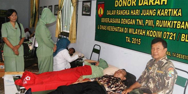 Kodim 0721/Blora Gelar Donor Darah Peringatan Hari Juang Kartika