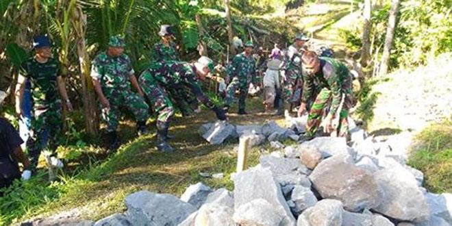 Kodim 0732/Sleman Gelar Karya Bhakti Dengan Sasaran Talud dan Saluran Air Serta Perbaikan Jalan