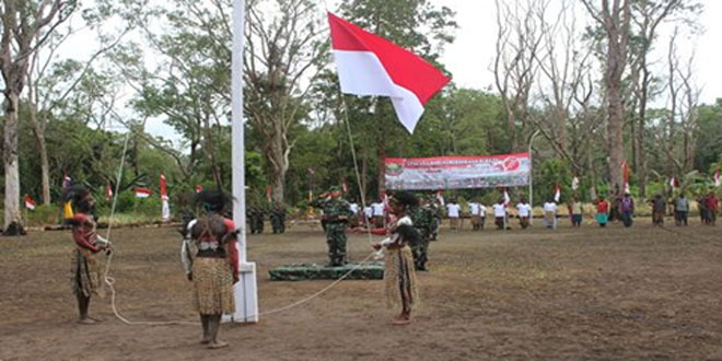 Satgas Pamtas RI-PNG Yonif 407/PK Pos Kout Sota Peringati Hari Kemerdekaan RI Ke-71