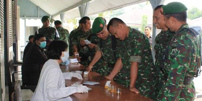 Anggota Kodim 0734/Yogyakarta Melksanakan Tes Urine