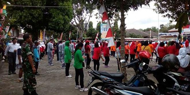 Persit Koramil 07/Ngemplak Ikuti Senam Massal Dalam Rangka HUT RI