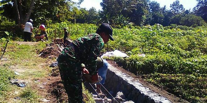 Babinsa Bersama Poktan Wedomartani Gotong Royong Bangun Saluran Irigasi