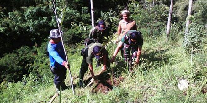 Warga Bersama Koramil 04/Ngadirejo Melaksanakan Penghijauan di Desa Tegalrejo Kec. Ngadirejo.