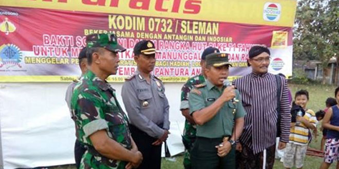 Tingkatkan Kemanunggalan TNI-Rakyat, Kodim 0732/Sleman Gelar Bakti Sosial