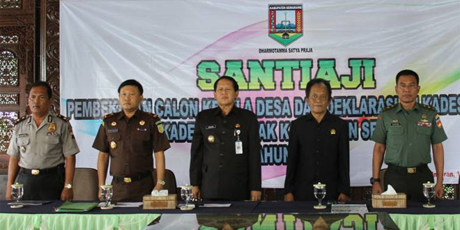 Pabung Kodim 0714/Salatiga Menghadiri Santiaji dan Deklarasi Calon PIlkades Kabupaten Semarang