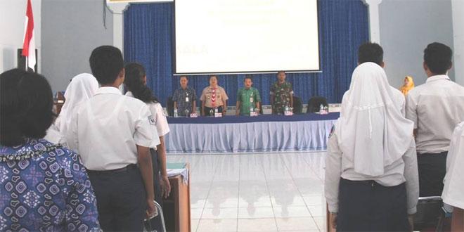 Kasdim 0714/Salatiga Menghadiri Kegiatan Peningkatan Bela Negara Kepada Siswa SMP di Salatiga