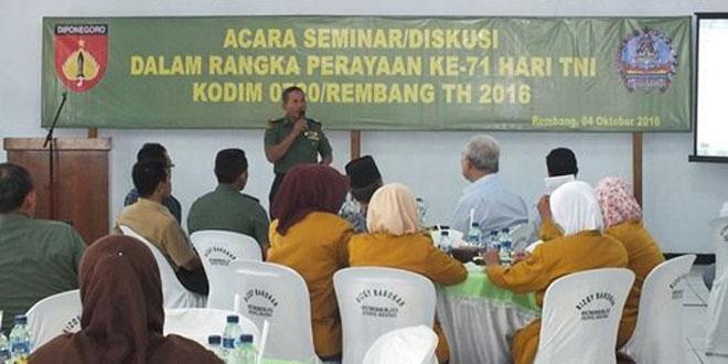 Dalam Rangka HUT TNI Ke 71, Dandim 0720 Gelar Seminar Mengulas Kembali Sejarah TNI