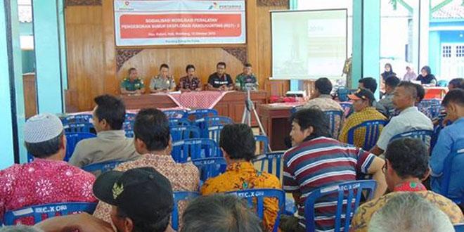 Danramil Kaliori Hadiri Acara Sosialisasi Mobilisasi Peralatan Sumur Ekxplorasi Randugunting (RGT) 2 di Pendopo Kecamatan