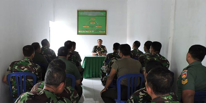 Dandim 0717/Purwodadi Komsos dengan Kapolres Dilanjutkan Pengarahan Anggota Koramil 01