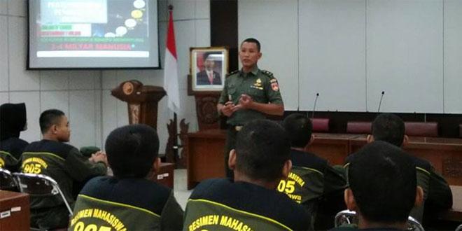 Kasdim 0735/Surakarta Berikan Ceramah Wasbang kepada Menwa USM
