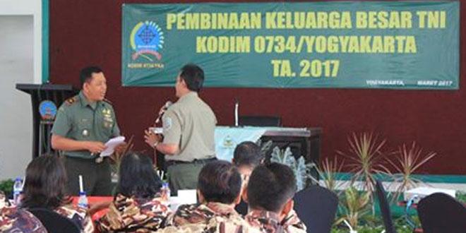 Kodim 0734/Yogyakarta Melaksanakan Giat Pembinaan Keluarga Besar TNI dan FKPPI Kota Yogyakarta