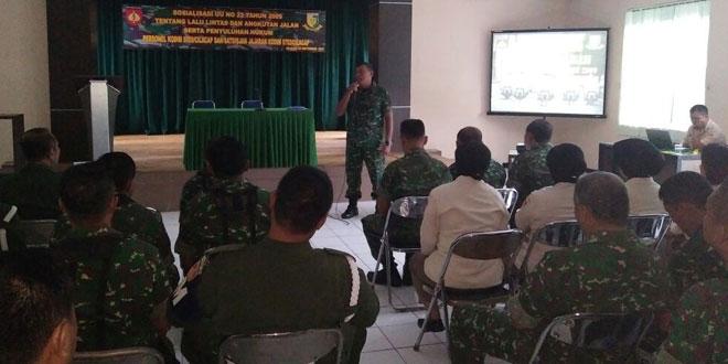 Subdenpom IV/1-1 Cilacap Sosialisasikan UU No. 22 Tahun 2009 Kepada Prajurit TNI dan ASN Kodim 0703/Cilacap