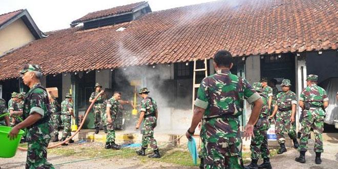 Prajurit Korem Salatiga Latihkan Simulasi Kebakaran