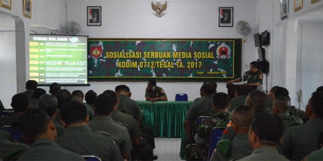 Pentingnya Sosialisasi Serbuan Medsos Bagi Prajurit Kodim 0712/Tegal