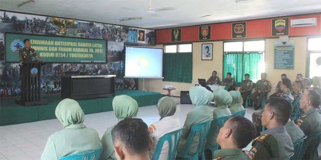 Kodim 0734/Yogyakarta Gelar Sosialisasi Pembinaan Antisipasi Balatkom dan Faham Radikalisme