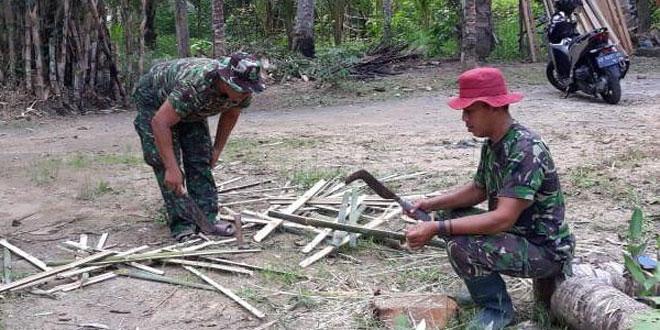 Koramil Temon Siapkan Pathok Bambu