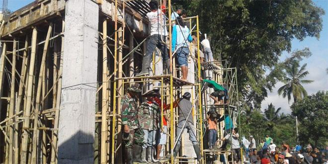 Beri Semangat : Koramil Sawangan Batu Pengecoran Masjid