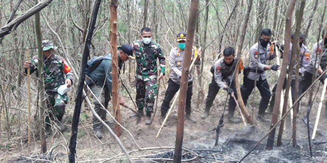 Puluhan TNI, Polri dan Relawan Gotong Royong Padamkan Api di Lereng Lawu