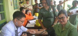 Persit Kartika Chandra Kirana Koorcab Rem 071 Ikuti Donor Darah HUT ke-74 Kesehatan TNI AD