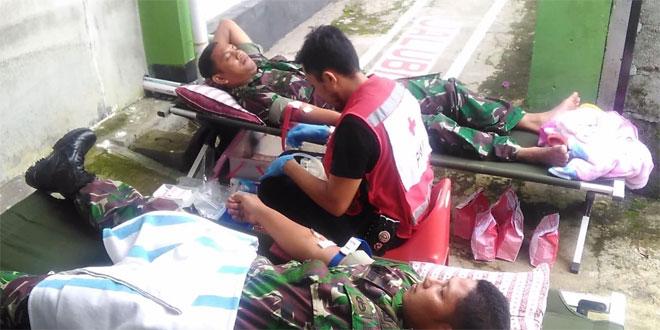 Koramil 05 Candiroto Partisipasi Bakti Sosial Donor Darah Berkala