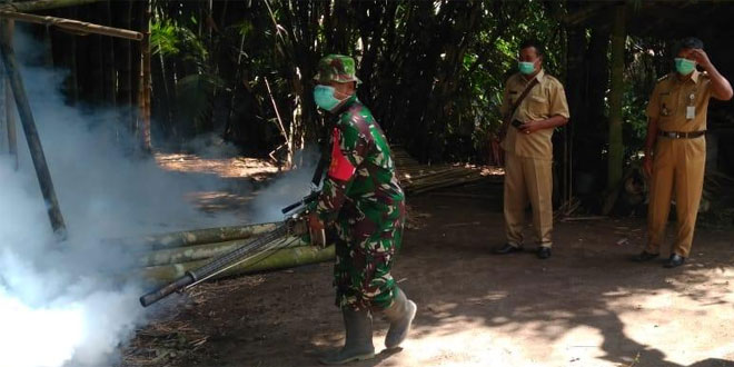 Cegah Perkembangan Nyamuk, Koramil Ngluwar Bantu Fogging