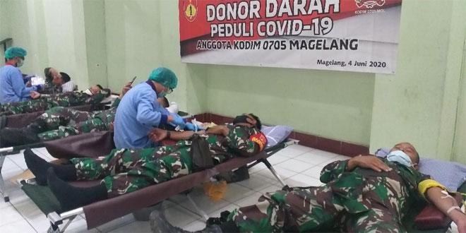 Kodim 0705/Magelang Gelar Donor Darah Ditengah Pandemi