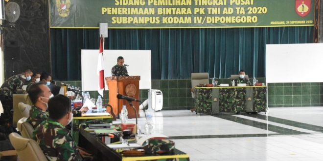 Pangdam IV/Diponegoro Pimpin sidang Pantukhir tingkat Subpanpus Caba PK TNI AD Umum Pria TA. 2020 Kodam IV/Diponegoro
