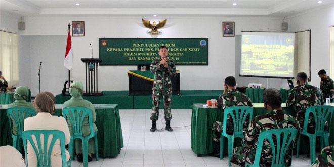 Gugah Kesadaran Hukum, Kodim 0734/Kota Yogyakarta Gelar Penyuluhan Hukum Bagi Prajurit, PNS Dan Ibu Persit