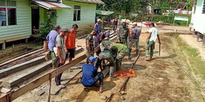 Peringati HUT Ke-72 Infanteri, Satgas Pamtas Yonif 407/PK Laksanakan Karya Bhakti Pembangunan Gereja