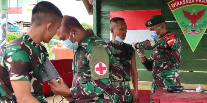 Ratusan Prajurit Satgas Pamtas Yonif 403/WP Suntik Vaksin Tahap Ke Dua di Wilayah Perbatasan RI-PNG